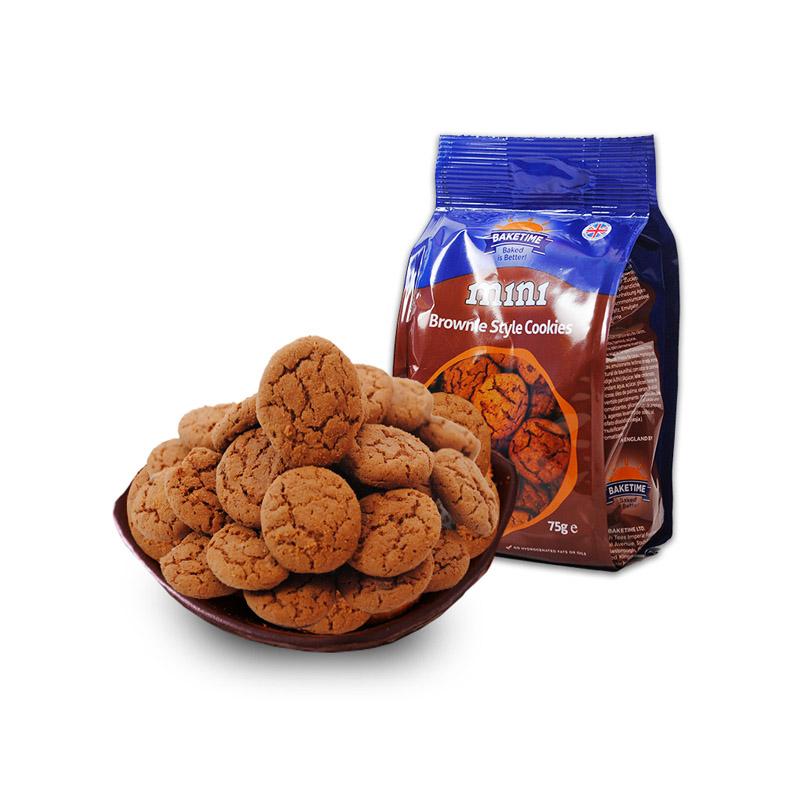【2包装】Baketime烘焙时刻 迷你布朗尼味饼干75g