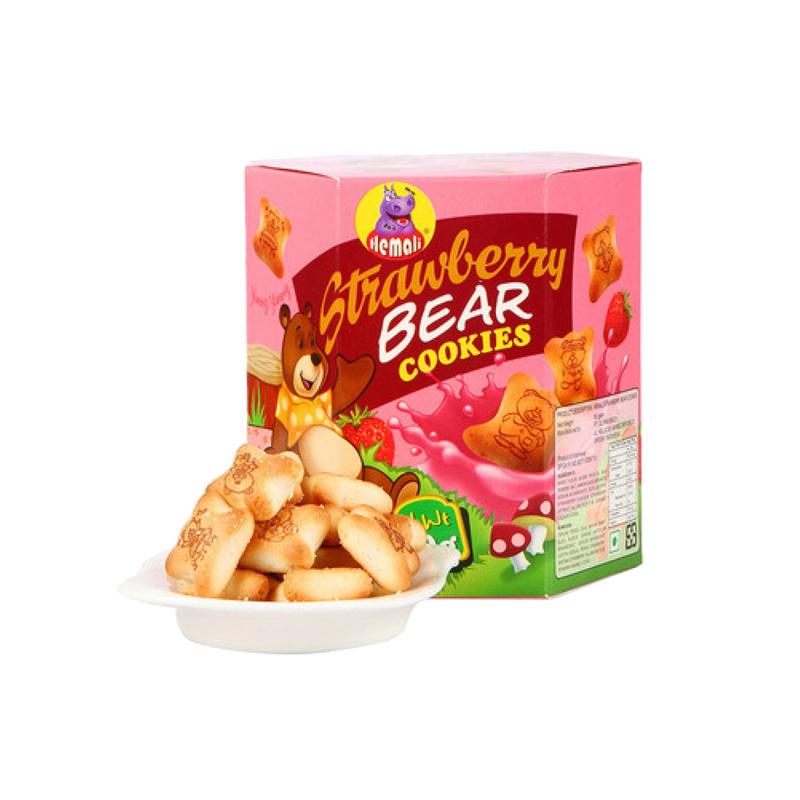 河马莉牌草莓味小熊造型夹心饼干80G